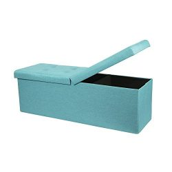Otto & Ben 45″ Storage Ottoman Folding Toy Box Chest with Smart Lift Top Upholstered T ...