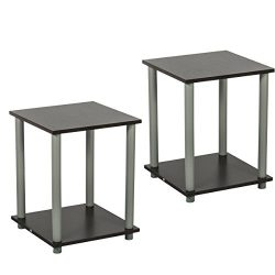 Edencomer Square End Table Simplistic Home Furniture, 2 Sets, Walnut