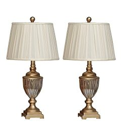 Table Lamp,Topotdor Berg Crystal Antique Brass Linen Shade Table Lamps,Set of 2(Gold Table Lamp)
