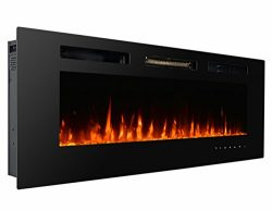 3GPlus 50″ Wall Recessed Electric Fireplace Crystal Stone Flame Effect 3 Changeable Color  ...
