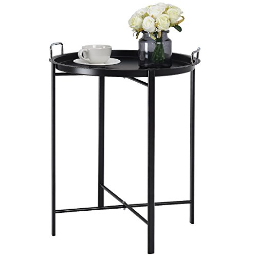 Giantex Round End Table Side Table Mental Tray Table Under Sofa Table Coffee Table Living Room B ...
