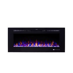 Flameline Dannis 50″ 750W/1500W, In-Wall Recessed Electric Fireplace Heater w/Touch Screen ...