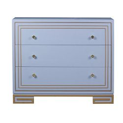 Pulaski P020237 Arie Deco Home Comfort Collection 3 Drawer Accent Chest with Gold Highlights, 42 ...