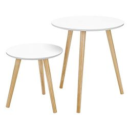 SONGMICS Modern Minimalist Coffee Table Multi-purpose Side Table Round End Table Night Stand for ...