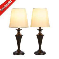 SOTTAE Luxurious Retro Black Base Metal Bedroom Bedside Table Lamp, Beige Fabric Shade Living Ro ...