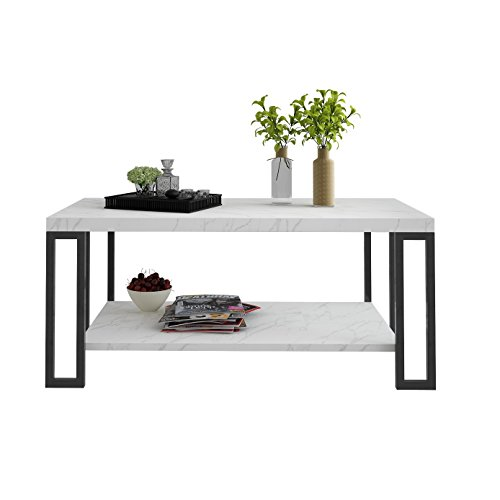 Giantex Accent Modern Coffee Tea Table Living Room Tables Faux Marble Top Metal Frame Cocktail T ...