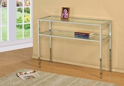 Chrome Metal Glass Accent Sofa Console Table with Shelf