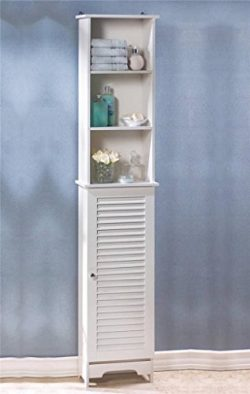 Tall White Wood Nantucket Bathroom Bedroom 6 Shelf Organizer Storage Cabinet