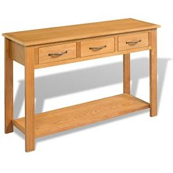 vidaXL Console Table 3 Drawers Desk Side Solid Oak Wood Hall Hallway Entrance