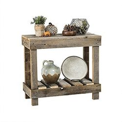 del Hutson Designs- Rustic Barnwood Sofa Table, USA Handmade Reclaimed Wood (Natural)