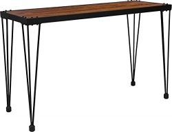 Contemporary Rustic Walnut Wood Grain Finish Console Table with Black Metal Legs