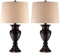 Metal Urn Bronze Table Lamps Set of 2