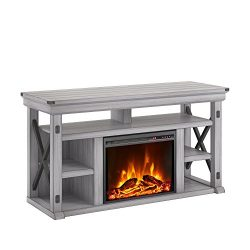 Ameriwood Home 1775296COM Wildwood Fireplace TV Stand, Rustic White