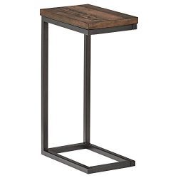Stone & Beam Larson Industrial Wood & Metal L-Shaped End Table, 16″ W, Walnut