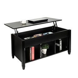 Bonnlo Lift Top Coffee Table with Storage Shelf w/Hidden Compartment and 3 Lower Open Shelves fo ...