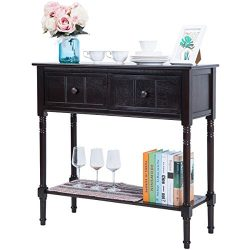 Harper&Bright Designs Console Table Sideboard Traditional Design with Two Drawers And Bottom ...