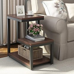 Tribesigns Rustic End Table, 3-Tier Chair Side Table Night Stand with Storage Shelf Metal Frame  ...
