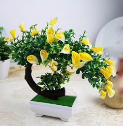 Situmi Artificial Fake Flowers Plastic Green Plants Bonsai Tree Desktopdecor, Yellow 3528cm