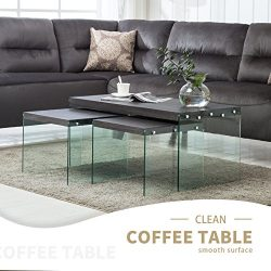 Mecor Set of 3 Nesting Table Side End Coffee Table Wood Top Tempered Glass Legs Living Room Furn ...