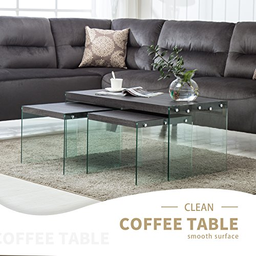 Set Of 2 Square Design Nesting Coffee Tables Made Of Black: Mecor Set Of 3 Nesting Table Side End Coffee Table Wood