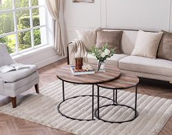 Set of 2 Weathered Oak/Metal Frame Round Coffee Table Nesting Set Industrial Look by eHomeProducts