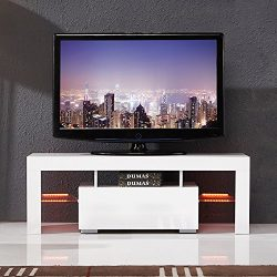 SUNCOO TV Stand Media Console Cabinet LED Shelves with Drawers for Living Room Storage High Glos ...