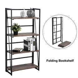Coavas Folding Bookshelf Rack 4-Tiers Bookcase Home Office Shelf Storage Rack No-Assembly Indust ...