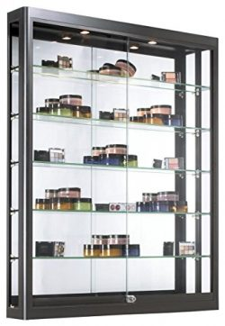 Displays2go Wall Mounted Showcases with Glass Shelving, Aluminum Construction, Sliding Glass Doo ...