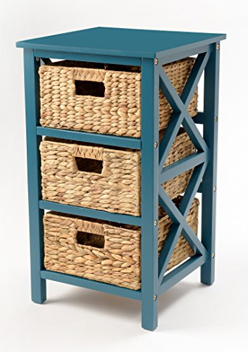 eHemco 3 Tier X-side End Table/Storage Cabinet with 3 Baskets(Teal)