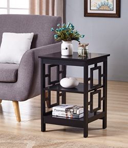 Black Finish Wooden Square Design Chair Side End Table with 3-tier Shelf