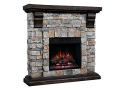 ClassicFlame Pioneer Stone Electric Fireplace Mantel Package, Brushed Dark Pine – 18WM1040 ...