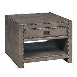 Stylistics Industry Side End Table, 24″ x 24″ x 19″, Grey