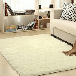 THEE Shaggy Fluffy Rugs Anti-Skid Area Rug Dining Room Carpet Bedroom Floor Mat