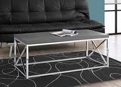 Monarch Specialties I 3225, Cocktail Table, Chrome Metal, Grey