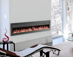 GMHome 70″ Wall Recessed Electric Fireplace 9 Changeable Color, w/Remote, 1500/750W, Metal ...