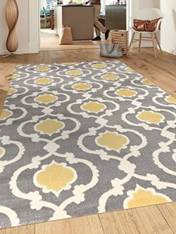 Rugshop Moroccan Trellis Contemporary Indoor Area Rug, 9′ x 12′, Gray/Yellow