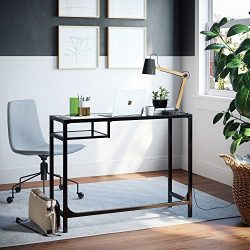 Nathan James 52001 Jayde Small Glass Laptop Metal Console Table, 40″, Black