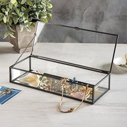 Vintage Style Black Metal & Clear Glass Mirrored Shadow Box Jewelry Display Case w/Hinged To ...