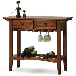 Leick Mission Wine Table with Storage Drawers, Russet Finish