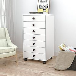 DEVAISE 7-Drawer Mobile Cabinet,Chest Dresser with Handle for Closet & Office, White