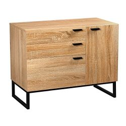 DEVAISE 3-Drawer Dresser, Storage Cabinet, Door Chest with Steel Legs, Oak