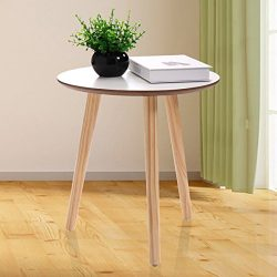 LAZYMOON Pine Wood Round Side End Table Coffee Table Living Room Furniture, White