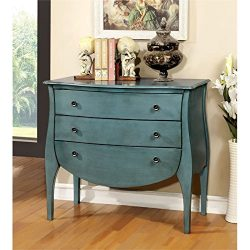 Furniture of America Alonzo 3 Drawer Accent Chest in Antique Blue