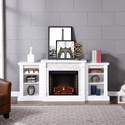 Southern Enterprises Nassau 71.75 in. W Faux Stone Electric Fireplace with Bookcases in White