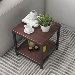 Soges Modern End Table 15.7″ Square Coffee Table Sofa Side Table Telephone Table, Walnut T ...