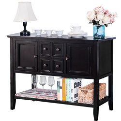 Harper & Bright Designs Acacia Mangium Sideboard Console Table with Bottom Shelf (Espresso)