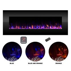 Electric Fireplace- Wall Mounted Color Changing LED Fire and Ice Flames, NO HEAT, Multiple Decor ...