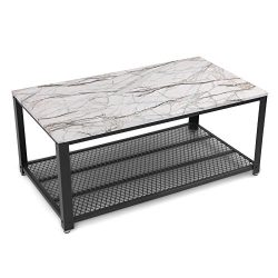 SONGMICS Faux Marble Coffee Table, Cocktail Table with Storage Shelf for Living Room, Easy Assem ...