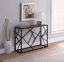 Vintage Brown Top / Black Metal Frame Console Sofa Table with Abstract Design