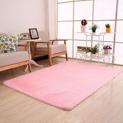 Dreamyth Fluffy Rugs Anti-Skid Shaggy Area Rug Dining Room Home Bedroom Carpet Floor Mat (Pink)